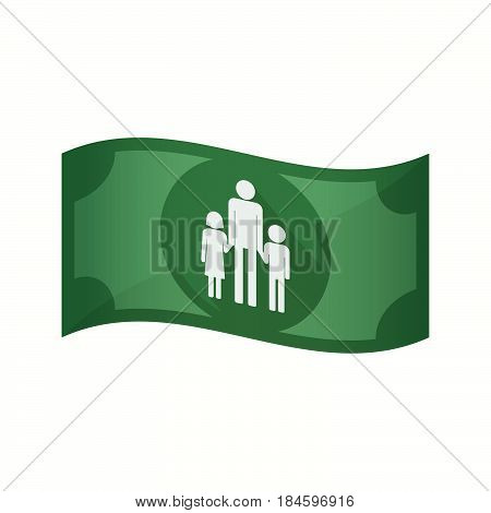 Isolated Bank Note With A Male Single Parent Family Pictogram