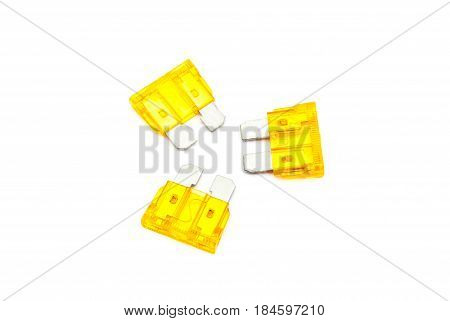 Orange Yellow Car Fuse, Isolated On White