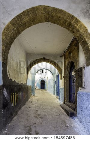 Typical Berber type alleyway Moroccan town of Azemmour El Jadida Morocco.