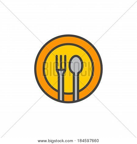 Fork spoon dish line icon filled outline vector sign linear colorful pictogram isolated on white. Restaurant food court symbol logo illustration