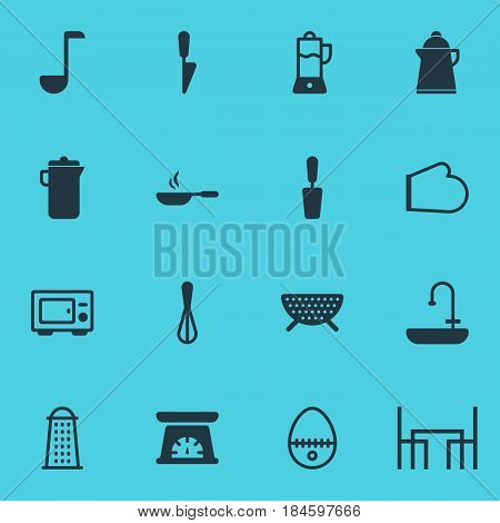 Vector Illustration Of 16 Cooking Icons. Editable Pack Of Kitchen Dagger, Tea, Fruit Squeezer And Other Elements.