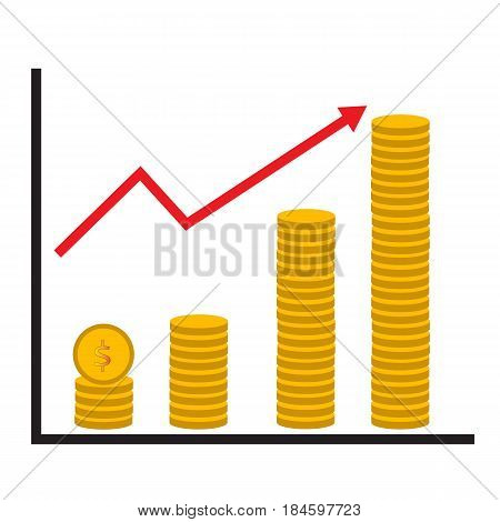 coin stack money graph up flat icon on white background. coin stack money graph up sign.