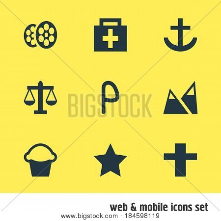 Vector Illustration Of 9 Map Icons. Editable Pack Of Cake, Film, Car Park And Other Elements.
