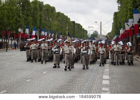Paris. France. July 14 2012. Legionnaires of the French foreign legion march during the parade on the Champs Elysees in Paris.