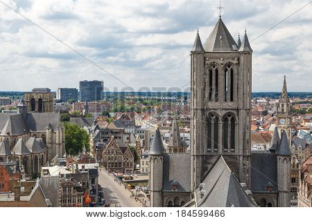St Nicholas Church And Panoramic View Of Gent
