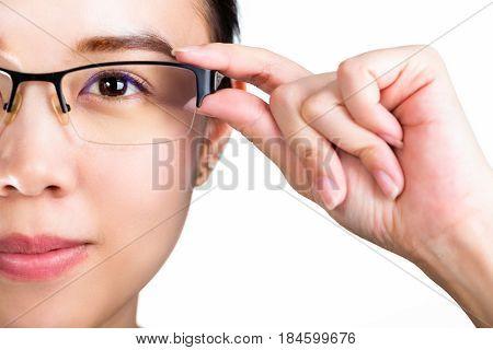 Eyeglasses. Woman wearing eyeglasses isolated white background. eye cataract.