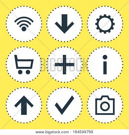 Vector Illustration Of 9 User Icons. Editable Pack Of Cogwheel, Info, Downward And Other Elements.