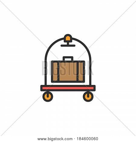 Baggage luggage trolley line icon filled outline vector sign linear colorful pictogram isolated on white. Hotel cart symbol logo illustration