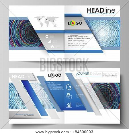 Business templates for square design bi fold brochure, magazine, flyer, booklet or annual report. Leaflet cover, abstract flat layout, easy editable vector. Blue color background in minimalist style made from colorful circles.