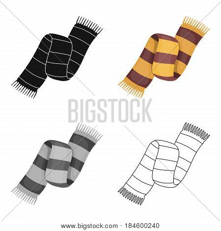 Beautiful two-tone scarf.Scarf with her ropes on the ends.Scarves and shawls single icon in cartoon style vector symbol stock web illustration.