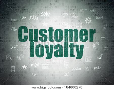 Advertising concept: Painted green text Customer Loyalty on Digital Data Paper background with  Hand Drawn Marketing Icons