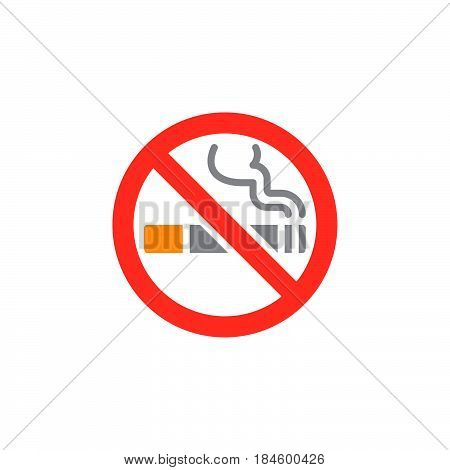 No smoking area icon vector filled flat sign solid colorful pictogram isolated on white. Symbol logo illustration