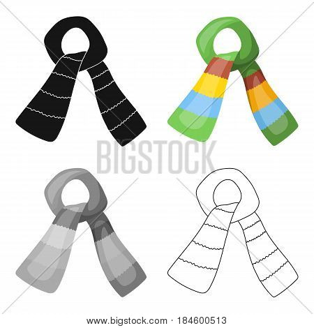 Scarf for boy and girl in cold weather. Coton green scarf.Scarf tied in a knot.Scarves and shawls single icon in cartoon style vector symbol stock web illustration.