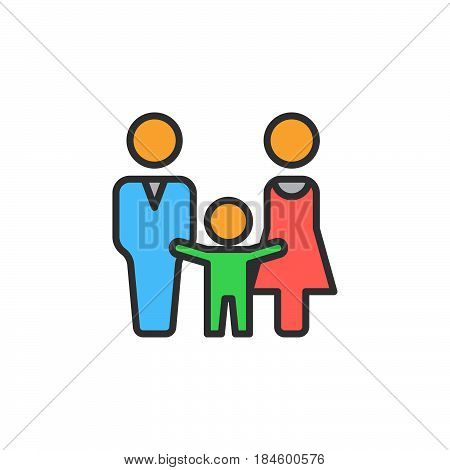 Man woman and child line icon filled outline vector sign linear colorful pictogram isolated on white. Family symbol logo illustration