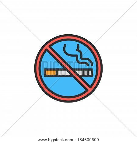 No smoking area line icon filled outline vector sign linear colorful pictogram isolated on white. Symbol logo illustration
