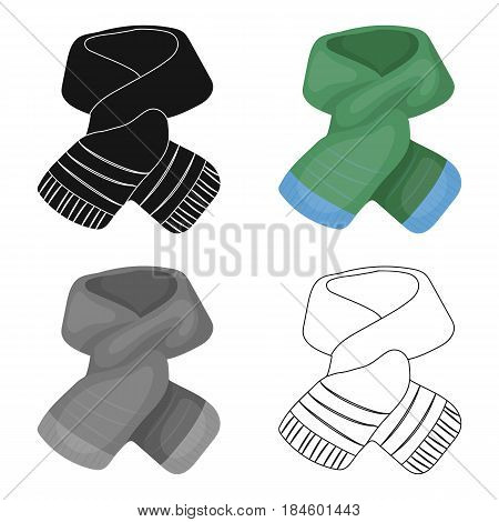 Stylish green scarf under a jacket.Scarves and shawls single icon in cartoon style vector symbol stock web illustration.