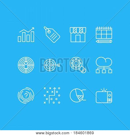 Vector Illustration Of 12 Social Icons. Editable Pack Of Tactical Plan, Goal, Schedule And Other Elements.