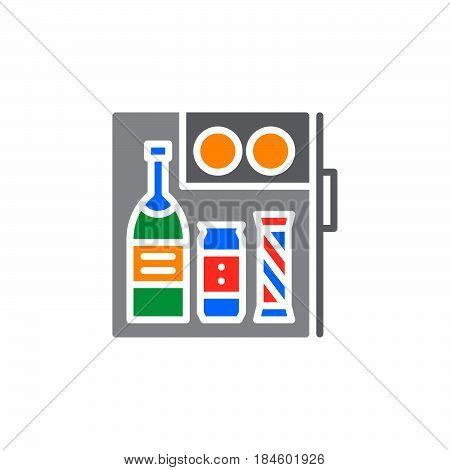 Hotel mini fridge bar icon vector filled flat sign solid colorful pictogram isolated on white. Symbol logo illustration
