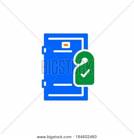 Door hanger icon vector filled flat sign solid colorful pictogram isolated on white. Room service symbol logo illustration