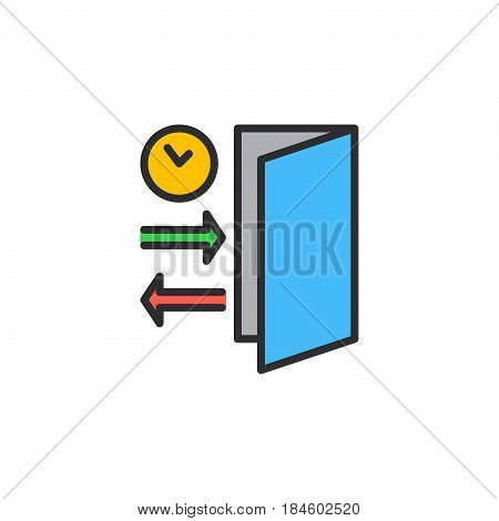 Check-in Check-out line icon filled outline vector sign linear colorful pictogram isolated on white. Symbol logo illustration
