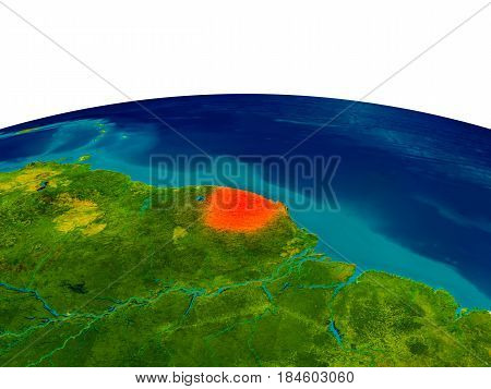 French Guiana On Model Of Planet Earth
