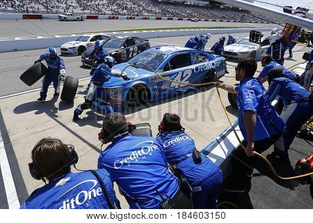 April 30, 2017 - Richmond, Virginia, USA: Kyle Larson (42) brings his car down pit road for service during the Toyota Owners 400 at Richmond International Speedway in Richmond, Virginia.