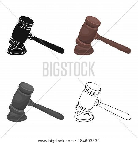 Judge wooden hammer. Hammer for deducing the verdict to the criminal.Prison single icon in cartoon style vector symbol stock web illustration.