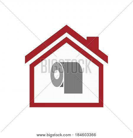 Isolated House With A Toilet Paper Roll