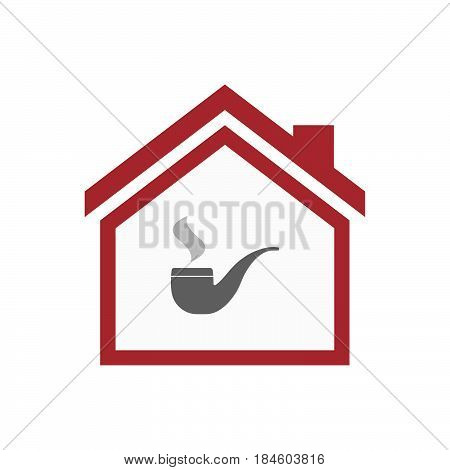 Isolated House With A Smoking Pipe