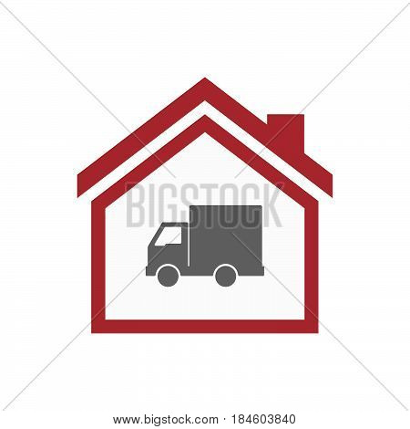 Isolated House With A  Delivery Truck