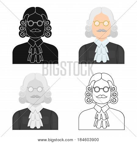 A judge in a wig and glasses. A person who makes a verdict to a criminal.Prison single icon in cartoon style vector symbol stock web illustration.