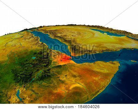 Djibouti On Model Of Planet Earth
