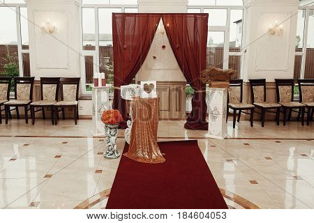 Wedding Arch And Aisle, Luxury Decorated Place For Wedding Ceremony And Reception