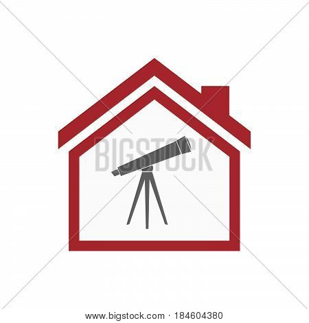 Isolated House With A Telescope