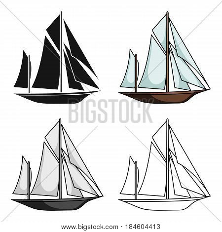 Vintage boat explorers.Sailboat on which ancient people traveled around the Earth.Ship and water transport single icon in cartoon style vector symbol stock web illustration.