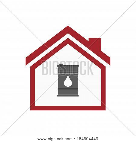 Isolated House With A Barrel Of Oil