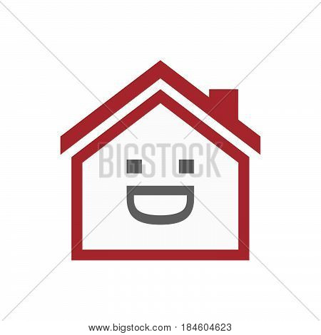 Isolated House With A Laughing Text Face