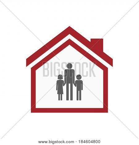 Isolated House With A Male Single Parent Family Pictogram