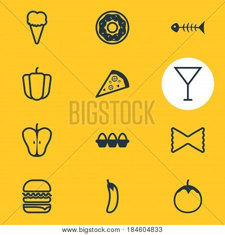Vector Illustration Of 12 Dish Icons. Editable Pack Of Skeleton, Martini, Jonagold And Other Elements.
