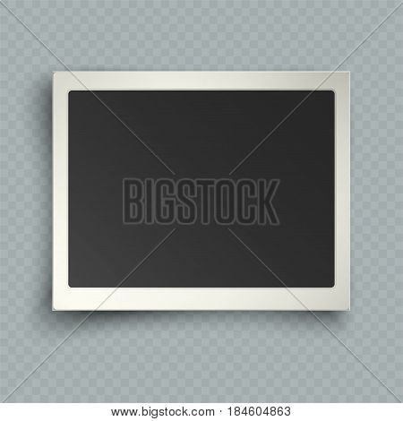 Retro realistic horizontal blank instant photo frame with shadow effects white plastic border isolated on transparent background. Template photo design vector illustration