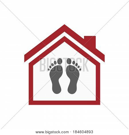Isolated House With Two Footprints