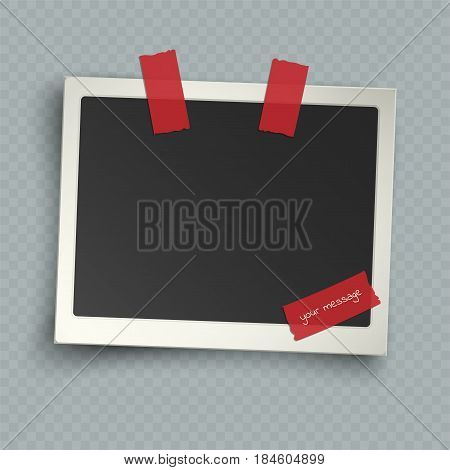 Retro realistic horizontal blank instant photo frame with shadow effects white plastic border on sticky tape pin isolated on transparent background. Template photo design vector illustration