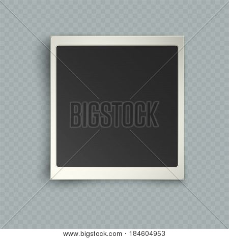 Retro realistic vertical blank instant photo frame with shadow effects white plastic border isolated on transparent background. Template photo design vector illustration