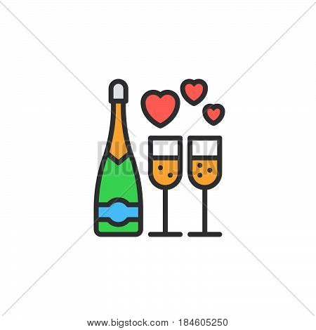Wine champagne bottle and wine glass with hearts line icon filled outline vector sign linear colorful pictogram isolated on white. Symbol logo illustration