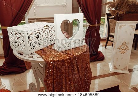 Gift Box And Guest Book, Wedding Arch And Aisle, Decorated Place For Wedding Ceremony And Reception