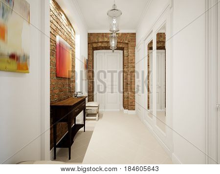 Modern Classic Hall Hallway Corridor In Old Vintage Apartment with Brick Walls. 3d render