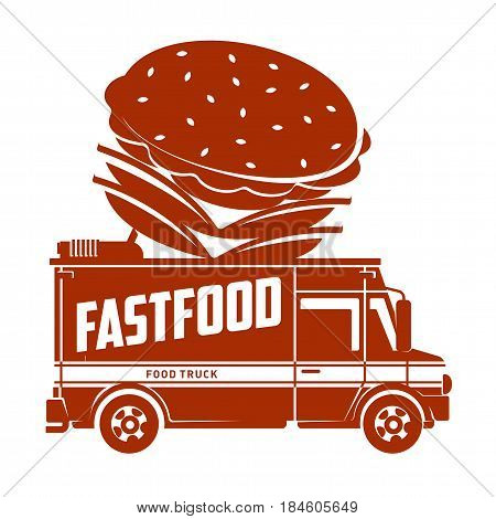 Food truck hamburger logo vector illustration. Vintage style labels design concept for food delivery service vehicles. Two colors logo templates for your design. Isolated on a white background