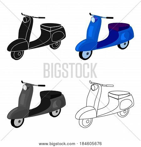 Blue two wheeled scooter. Transport for moving around the city.Transport single icon in cartoon style vector symbol stock web illustration.