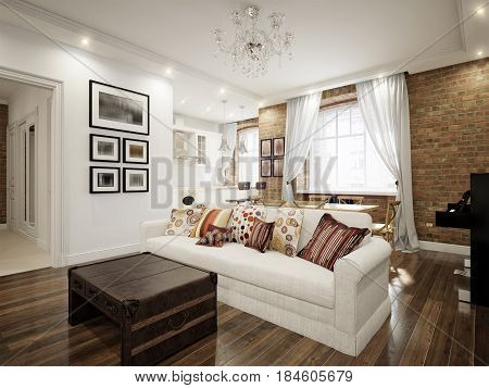 Modern Classic Traditional White Living room In Old Vintage European Apartment with Brick Walls. 3d render