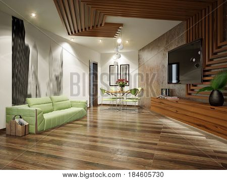 Modern Urban Contemporary Living Room Interior Design with Concrete Wall. 3d rendering